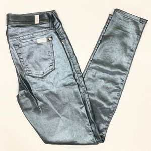 7 for all Mankind Skinny Silver Metallic Jeans